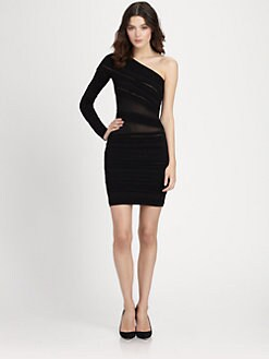 Roberto Cavalli - One-Shoulder Sheer-Paneled Body-Con Dress