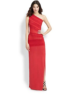 Roberto Cavalli - Ridge-Paneled One-Shoulder Gown