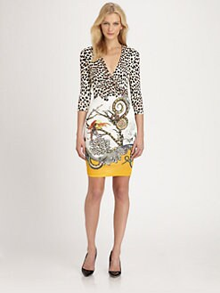 Roberto Cavalli - Mixed-Print Jersey Dress