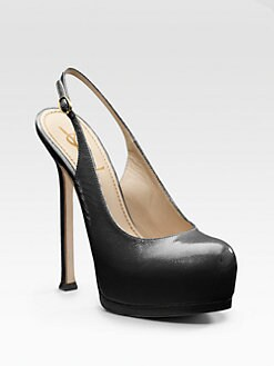 Saint Laurent - Tribute Two Leather Slingback Platform Pumps