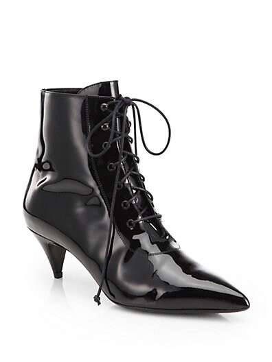 Cat Patent Leather Lace-Up Ankle Boots