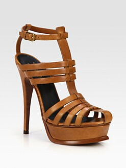 Saint Laurent - Tribute Leather Platform Sandals