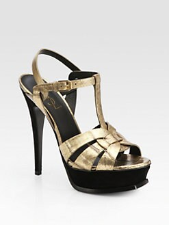 Saint Laurent - Tribute Sandals in Gold Eel Skin and Black Suede