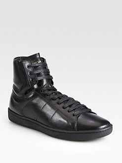 Saint Laurent - Leather High Top Sneakers