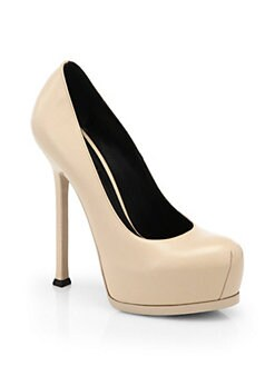 Saint Laurent - Tribute Two Textured Leather Platform Pumps