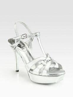 Saint Laurent - Metallic Leather Tribute Platform Sandals