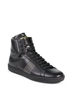 Saint Laurent - Studded Leather High-Top Sneakers