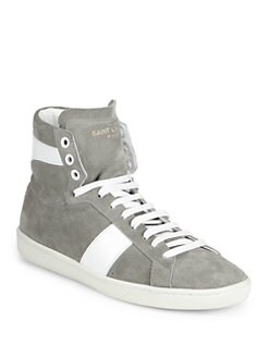 Saint Laurent - Saint Laurent Suede and Leather High-Top Sneakers