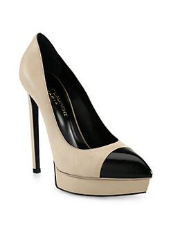 Saint Laurent - Janis Leather Cap-Toe Platform Pumps