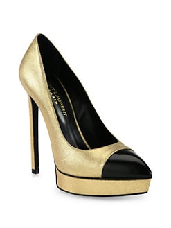 Saint Laurent - Janis Textured Metallic Leather Cap-Toe Pumps