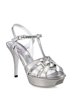 Saint Laurent - Tribute Textured Metallic Leather Platform Pumps