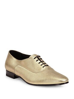 Saint Laurent - Blake Textured Metallic Leather Lace-Up Oxfords