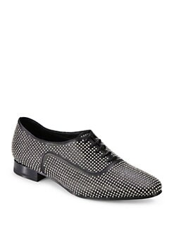 Saint Laurent - Blake Studded Leather Lace-Up Oxfords