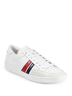 Saint Laurent - Saint Laurent Leather Trim Lace-Up Sneakers