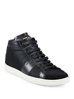 Saint Laurent - Saint Laurent Leather Trim Sneakers