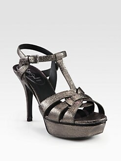 Saint Laurent - Tribute Metallic Leather Platform Sandals
