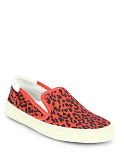 Saint Laurent - Leopard-Print Canvas Laceless Sneakers