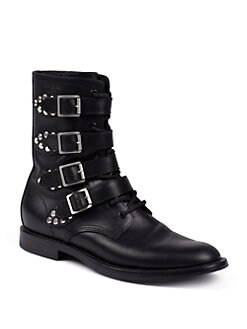 Saint Laurent - Rangers Saint Laurent Studded Leather Ankle Boots