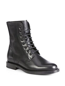 Saint Laurent - Rangers Saint Laurent Leather Mid-Calf Boots