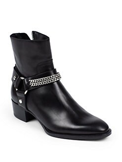 Saint Laurent - Rock Chelsea Leather Chain Harness Ankle Boots