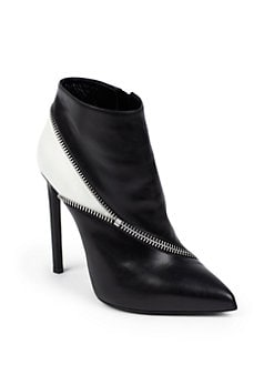 Saint Laurent - Paris Bottine Zipper-Trim Leather Ankle Boots