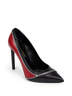 Saint Laurent - Paris Zipper-Trim Leather Pumps