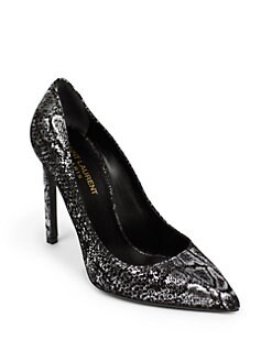 Saint Laurent - Paris Escarpin Snake-Print Suede Pumps