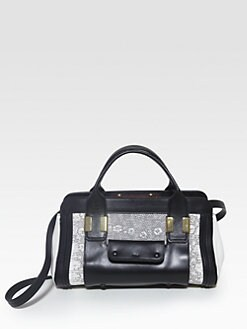 Chloe - New Alice Little Mixed-Media Top Handle Bag