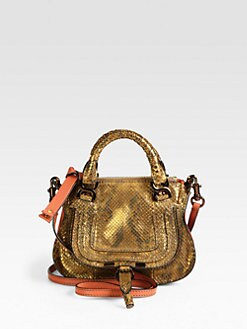 Chloe - Mini Marcie Metallic Python Satchel