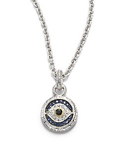 Judith Ripka - Sapphire, Sterling Silver & 18K Yellow Gold Necklace