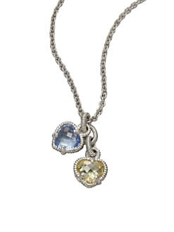 Judith Ripka - Blue Quartz, Canary Crystal & Sterling Silver Twin Heart Necklace