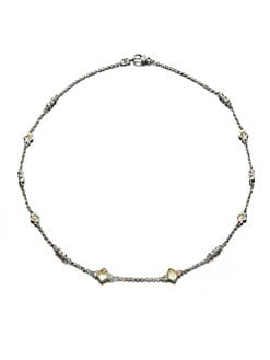 Judith Ripka - Crystal & Sterling Silver Station Necklace