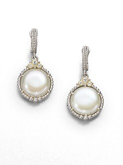 Judith Ripka - Cultured Coin Pearl & Sterling Silver Drop Earrings