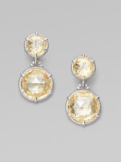 Judith Ripka - Canary Crystal, White Sapphire & Sterling Silver Earrings