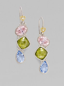Judith Ripka - White Sapphire, Blue Quartz & Sterling Silver Earrings