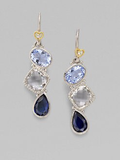 Judith Ripka - White Sapphire, Blue Quartz, Blue Corundum & Sterling Silver Earrings