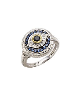 Judith Ripka - Black, White and Blue Sapphire Sterling Silver Evil Eye Ring