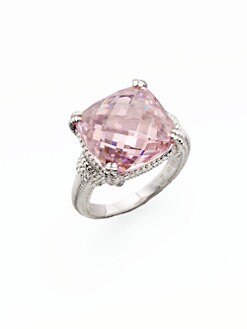 Judith Ripka - Pink Crystal and Sterling Silver Ring