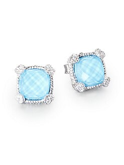Judith Ripka - Turquoise, White Sapphire and Sterling Silver Cushion Earrings