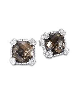Judith Ripka - Smoky Quartz, White Sapphire and Sterling Silver Cushion Earrings
