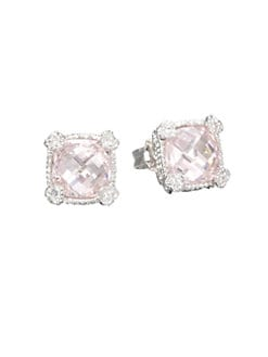 Judith Ripka - Crystal & Sterling Silver Stud Earrings/Pink