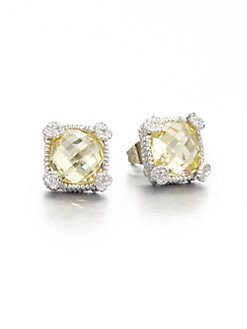 Judith Ripka - Crystal & Sterling Silver Stud Earrings/Canary