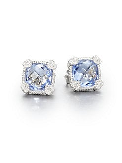 Judith Ripka - Blue Quartz & Sterling Silver Stud Earrings