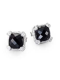 Judith Ripka - Black Onyx, White Sapphire and Sterling Silver Cushion Earrings