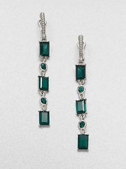 Judith Ripka - Green Quartz & Sterling Silver Linear Drop Earrings