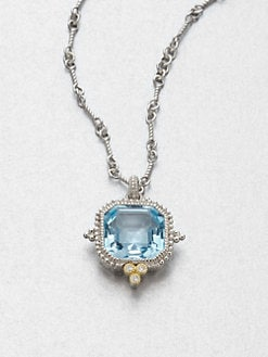Judith Ripka - Blue Topaz & Sterling Silver Pendant Necklace