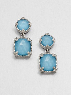 Judith Ripka - Turquoise Doublet & Sterling Silver Drop Earrings