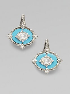 Judith Ripka - White Sapphire, Turquoise & Sterling Silver Earrings