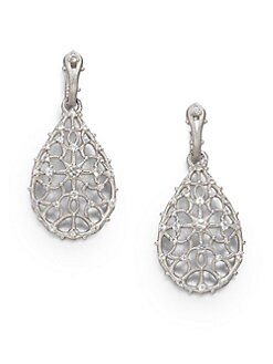 Judith Ripka - White Sapphire & Sterling Silver Teardrop Earrings