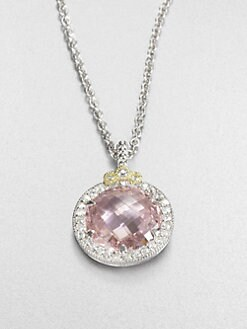 Judith Ripka - White Sapphire & Pink Crystal Pendant Necklace